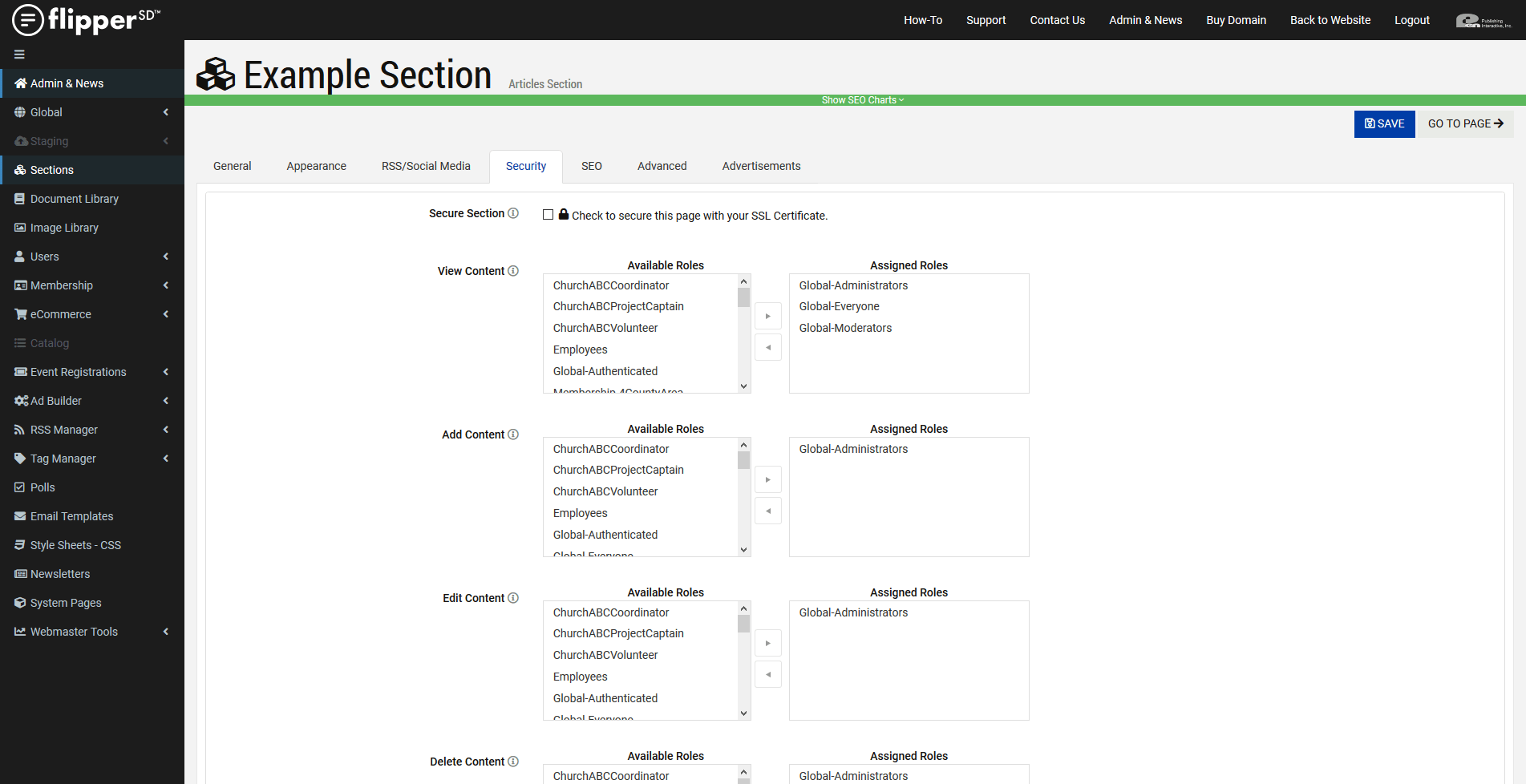 Articles Section-Role Based Permissions