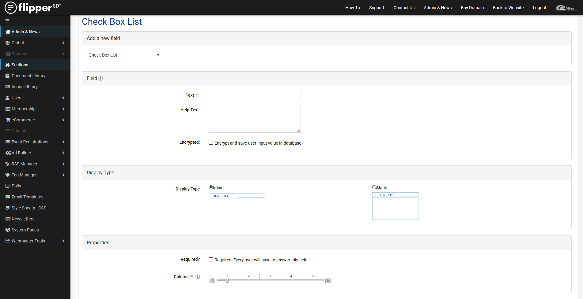 FormBuilder-Check Box List