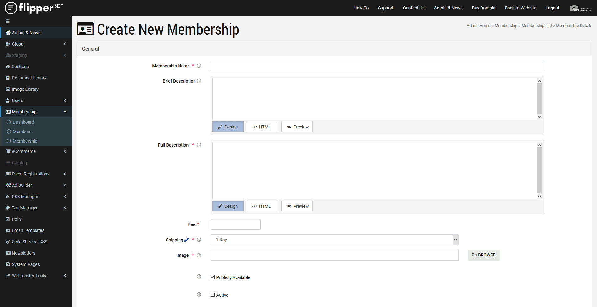 Membership-Create New Membership